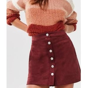 H&M Faux Suede Maroon Skirt